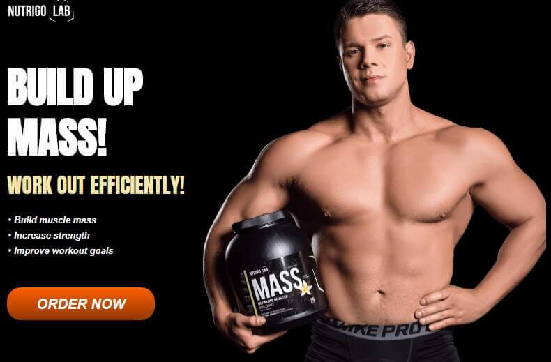 Body builder holding nutrigo mass product